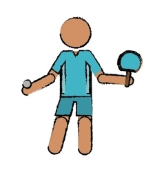 Drawing character ping-pong player with racket vector