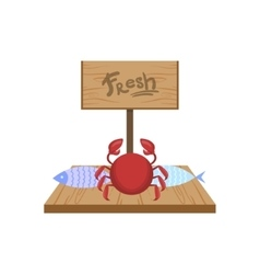 Fresh crab on market counter vector
