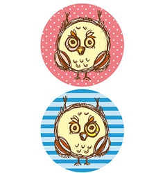 Funny owl boy and girl on a blue and pink vector image vector image