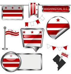 Glossy icons with Washingtonian DC flag vector image vector image