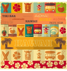Hawaii surf retro card vector