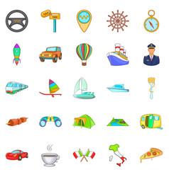 International icons set cartoon style vector