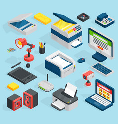 Isometric office equipment technics vector