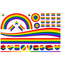lgbt rainbow symbols set vector image