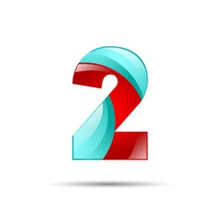 Number two 2 colorful 3d volume icon design for vector image