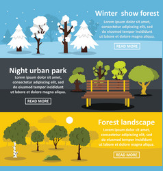 park landscape banner horizontal set flat style vector image vector image