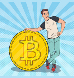pop art happy man with big bitcoin cryptocurrency vector image