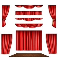Red Curtain And Stage Icons Set vector image vector image