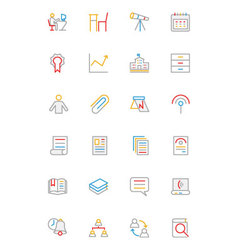 School and education colored line icons 6 vector
