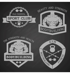 Set of emblem bodybuilding and fitness vector