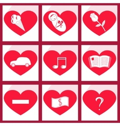 Set of icons heart vector image vector image