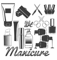 Set of manicure tools nails manicure vector