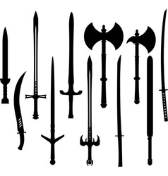 set of swords and axes silhouettes vector image