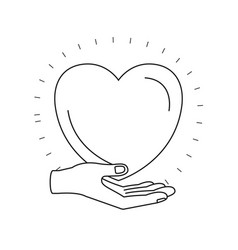 Silhouette hand palm giving a heart charity symbol vector