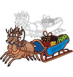 Sleigh and reindeer - vinyl-redy vector