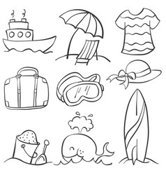 summer object doodles vector image vector image