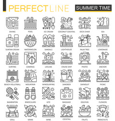 summer time outline concept symbols vacation vector image vector image
