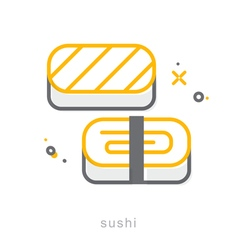 Thin line icons Sushi vector image