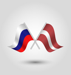 Two crossed russian and latvian flags vector
