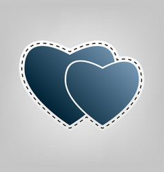 two hearts sign blue icon with outline vector image vector image