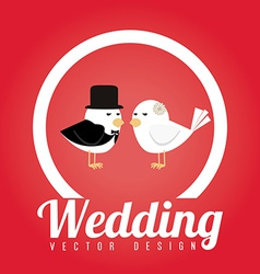 Wedding design over red background vector