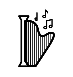 Harp music note sound icon graphic vector