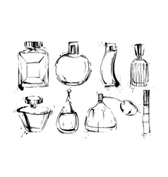 Perfume bottles set fashion sketch hand drawn vector