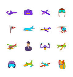 aviation icon set pop-art style vector image