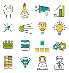 Set colored server and startup line icons vector