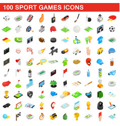 100 sport games icons set isometric 3d style vector image