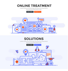 Flat design concept banner -online treatment and vector