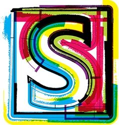 Colorful grunge font letter s vector