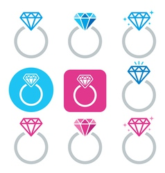Diamond engagement ring icon - valentines vector