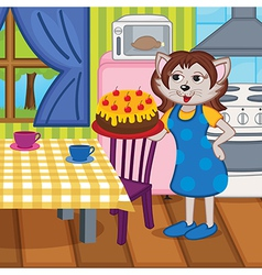 Mother cat baked cake in kitchen vector