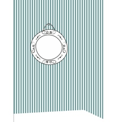 Hand drawn photo frame on stripes wall background vector