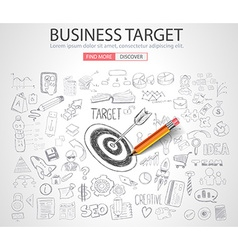 Business targe concept with doodle design style vector