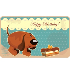Greeting card with a funny dog and cake in vintage vector