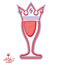 Monarch wineglass with decorative crown royal vector image