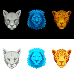 Big cat set-lion puma jaguar vector