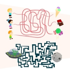 Labyrinth games set for preschoolers find the way vector