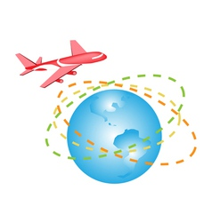 A plane flying around the world vector