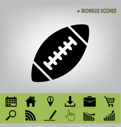 American simple football ball black icon vector