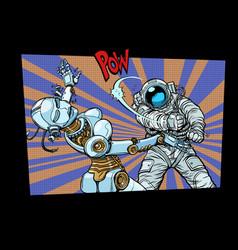 Astronaut beats up female robot domestic violence vector