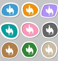 Camel symbols Multicolored paper stickers vector image
