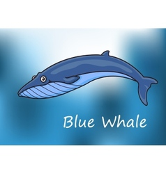 Cartoon blue whale swimming underwater vector image vector image