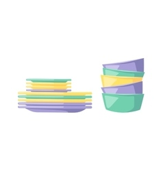 Clean dishware vector
