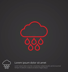 Cloud rain outline symbol red on dark background vector