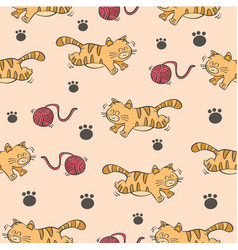 Colorful cat and yarn ball pattern vector