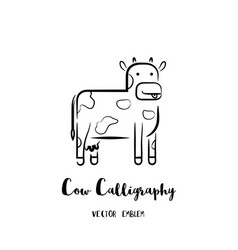 Cow calligraphy emblem vector