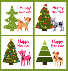 Cute cartoon dogs wishes happy new year near tree vector